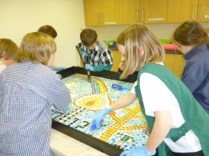 What a great team of pupils at St Peters working together to finish this meaningful mosaic