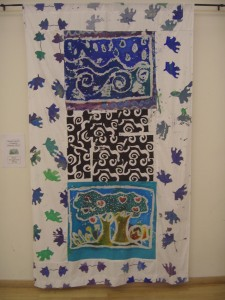 Buxted C of E Primary School VSA Project. Water and Spring are depicted here on one of the four banners