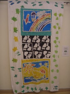 Buxted C of E Primary School VSA Project. Air and summer are depicted here on one of the four banners