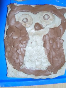 Round owl made at Harlands Primary School.