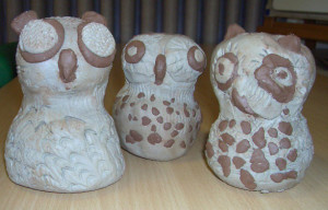 Pupils at Harland Primary School clay owls