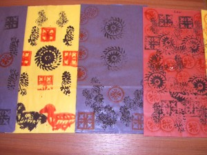 Block Printing onto bags with small Indian wooden blocks
