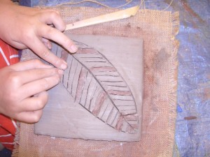 Nutley School clay tiles decoration
