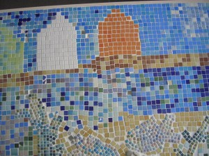 The beach huts as part of the St Marys Star of the Sea Mosaic