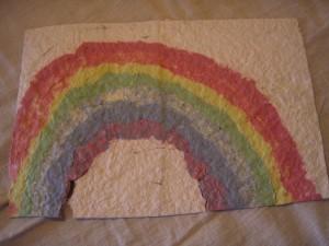Paper pulp rainbow