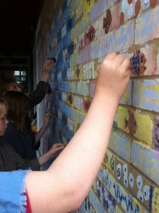 Adding block prints to the mural