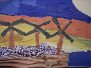 A mix of printed texture papers and tissue paper year 6 collage