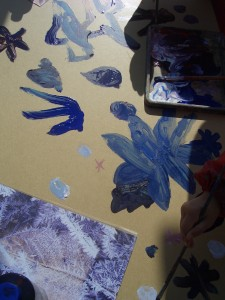 Reception pupils at St Mary Star of the Sea paintings made based on leaves