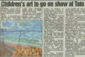 The Able Project organised by Oackwood Link Worker take childrens art to theTate Painting