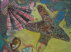 This painting was made by a group of children using the beach and shells as a theme using  ready mix paint