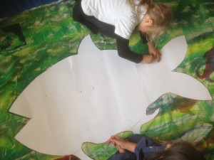 We used large paper stencils for the shapes